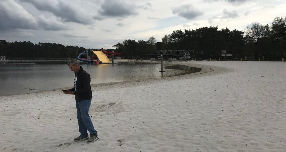 Zilvermeer Water Park @ 4 April  - Mike Lawson inspects the World Masters Championships Cyclo Cross 2019 course which includes large sections of running in the sand beside the Zilvermeer Lake.