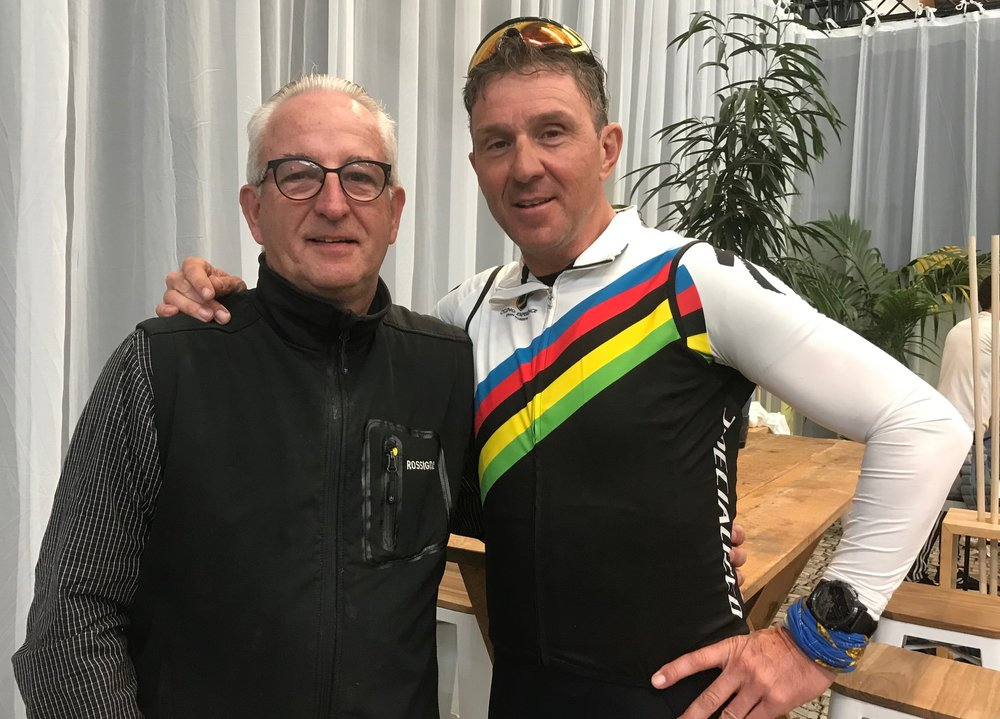 Ronde van Vlaanderen (Tour of Flanders Cyclosportive) @ 6 April -  at the post cyclosportive function in Oudenaarde with  Johan Museeuw . Johan won the UCI World Cup (1995, 96), World Champion (1996), triple Ronde winner (1993, 95 & 98), four times Paris Roubaix winner (1993, 96, 2000 & 2002) and Belgian National Champion (1992 & 96).