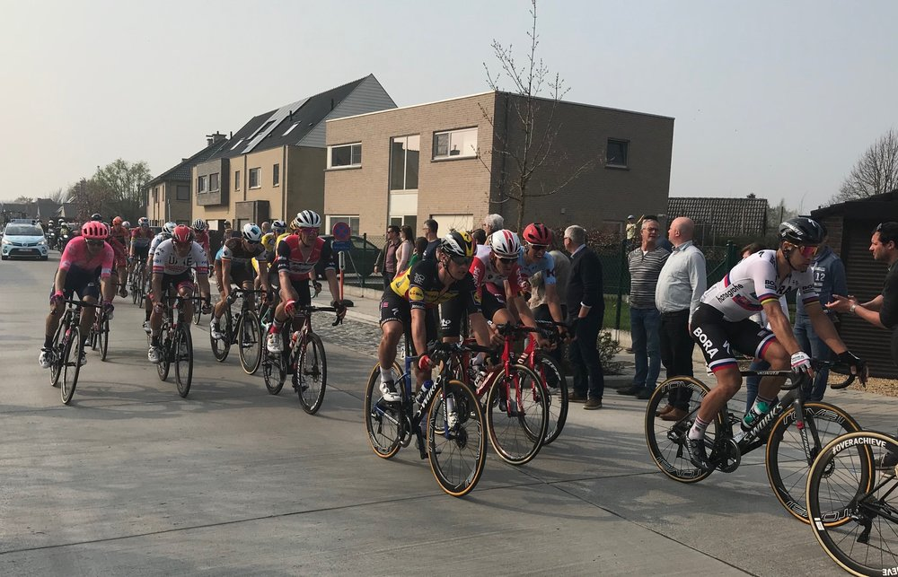 RVV @ 7 April  - Peter Sagan (right) approaches the Old Kwaremont cobbles with 25k to the finish. Photo MO'R
