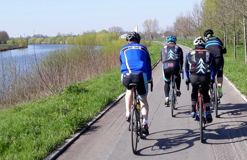 Koppenberg Loop @ 11 April  - The Schelde River cycle path riding towards Roubaix with Kluisbergen on the left of picture. Photo Mike O'Brien