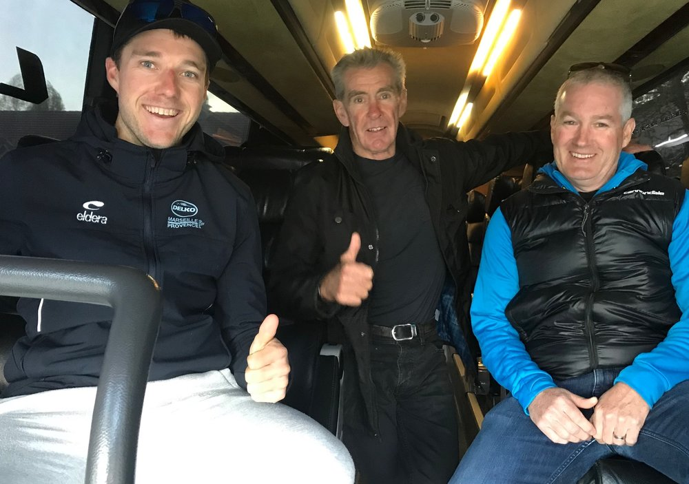 Delko Team @ 13 April -  All aboard the Delko team bus with Brenton Jones, Mike Lawson & Mike O'Brien. Photo MOR.