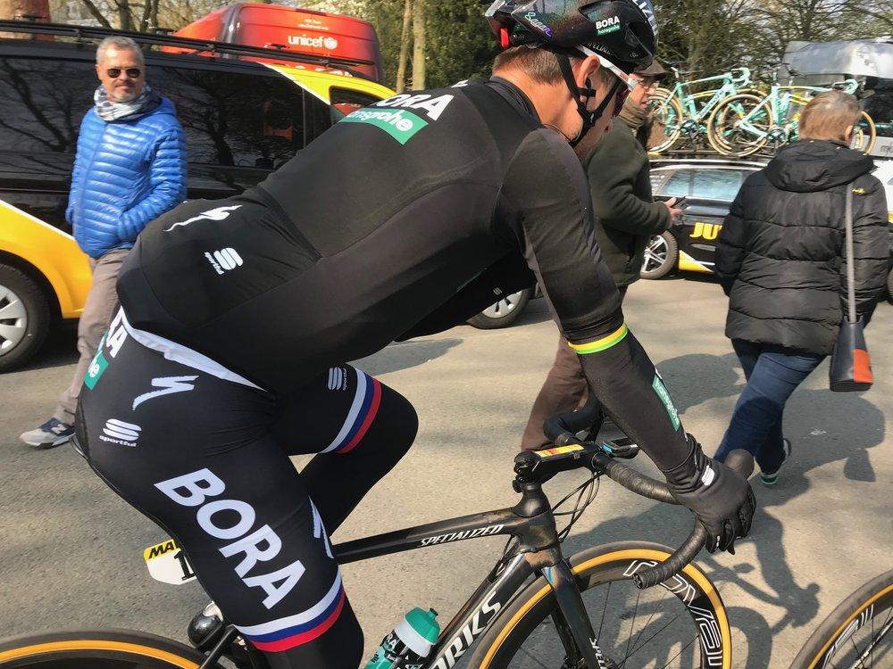 Paris Roubaix @ 14 April -  Peter Sagan on the way to the Compiegne start. Photo MOR