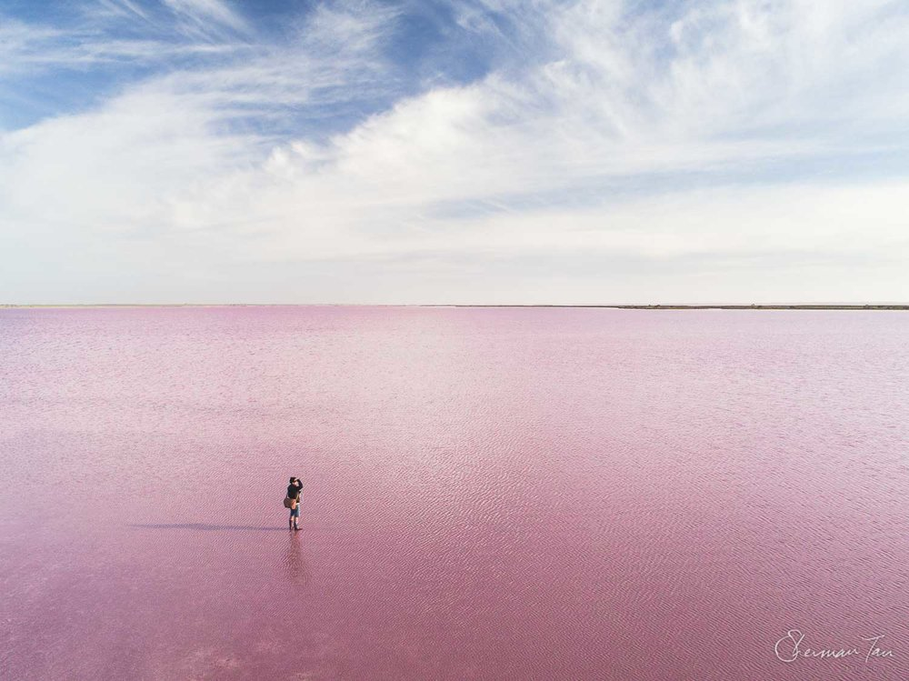 Nothing but pink water for miles.