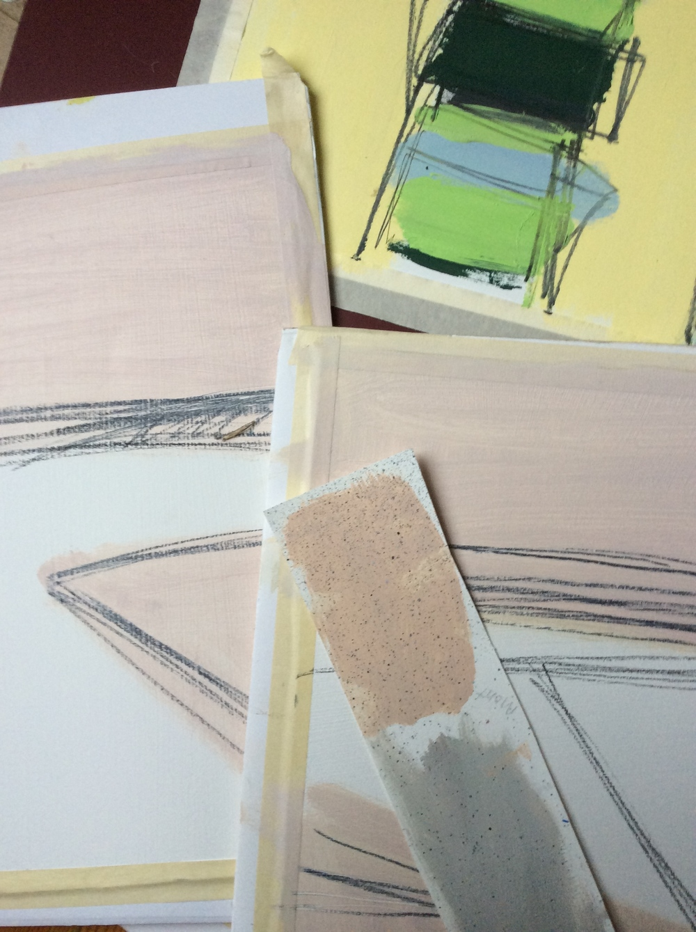 Creating the palette for pink and grey inspired by the tile floor at the Nelson.