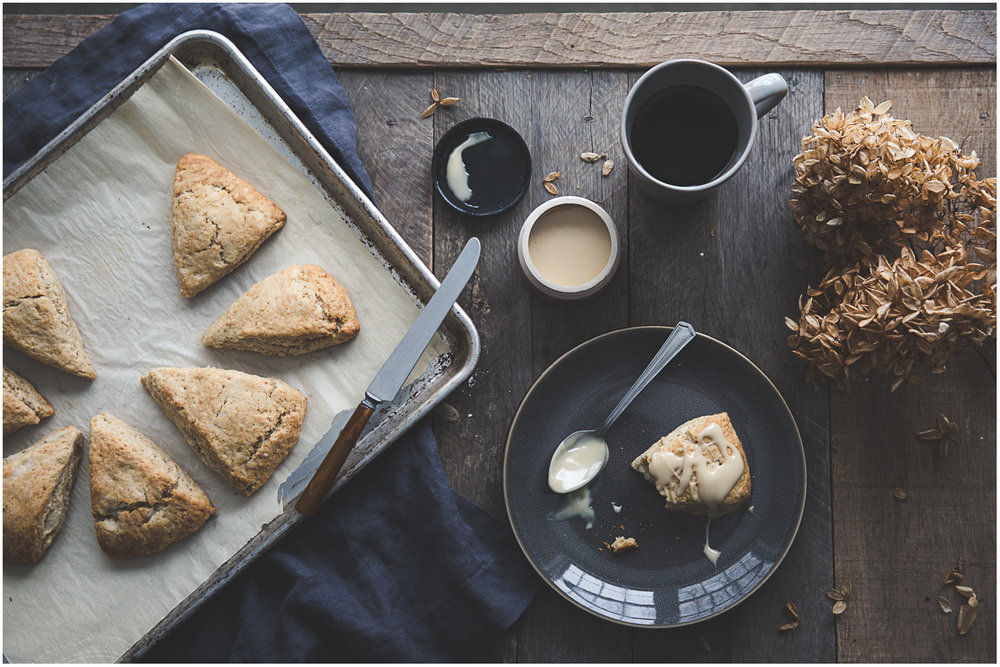 Spiced scones with maple cream, on a cold March morning