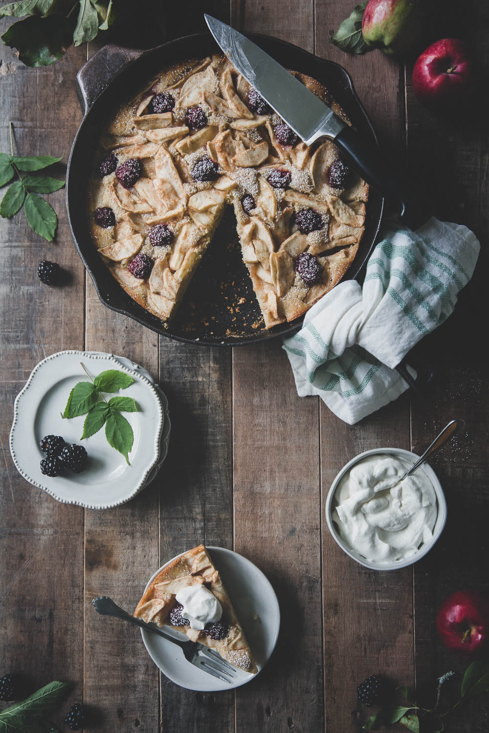 Apple Blackberry Skillet Cake with Maple Bourbon Whipped Cream
