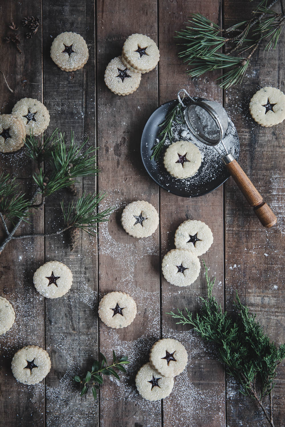 Rosemary Shortbread Linzer Cookies with Blueberry Preserves