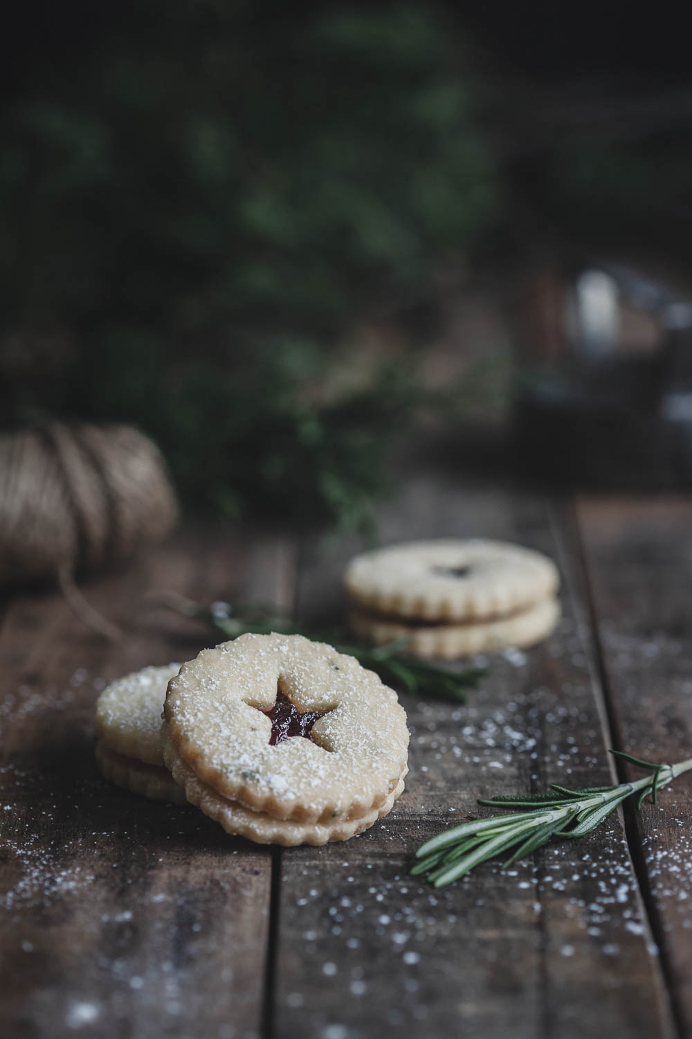 A Maine-themed holiday cookie - Rosemary Shortbread Linzer Cookies with Blueberry Preserves