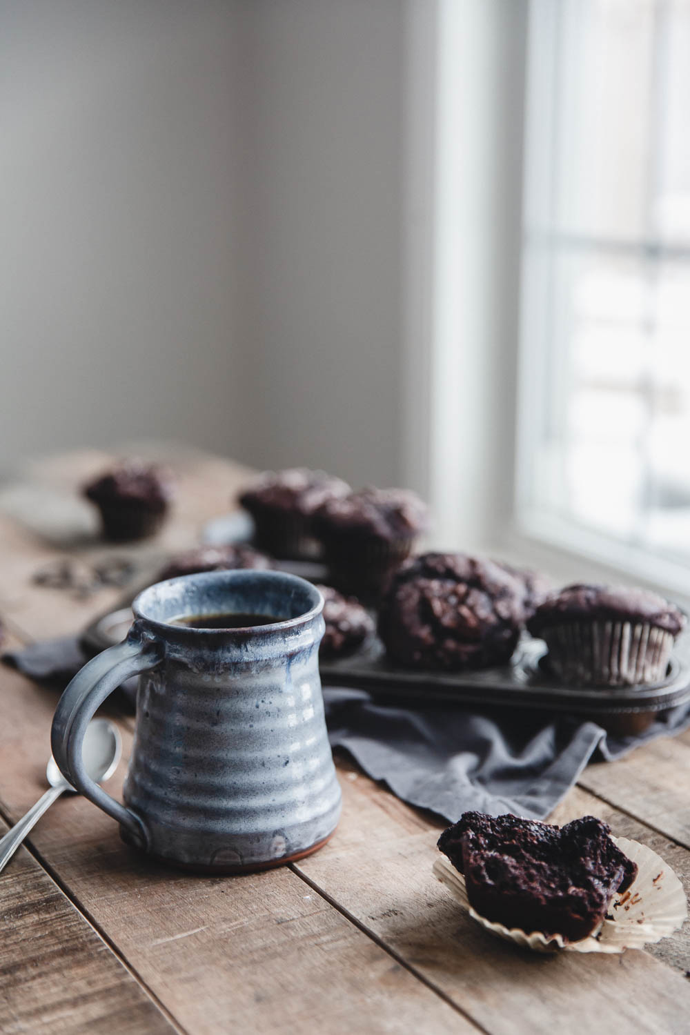 Chocolate muffins on a winter morning