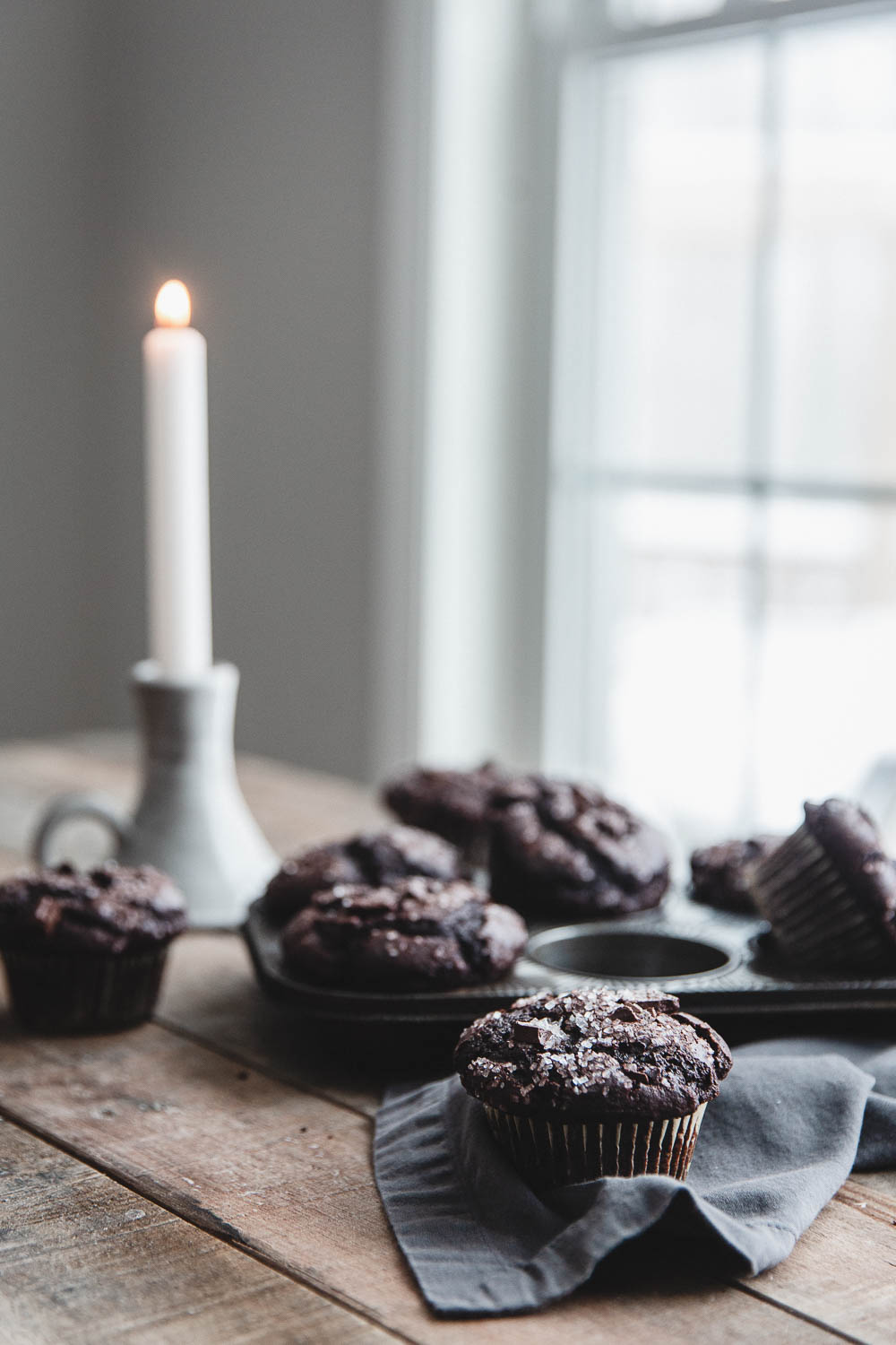 Double chocolate muffins on a cold winter morning
