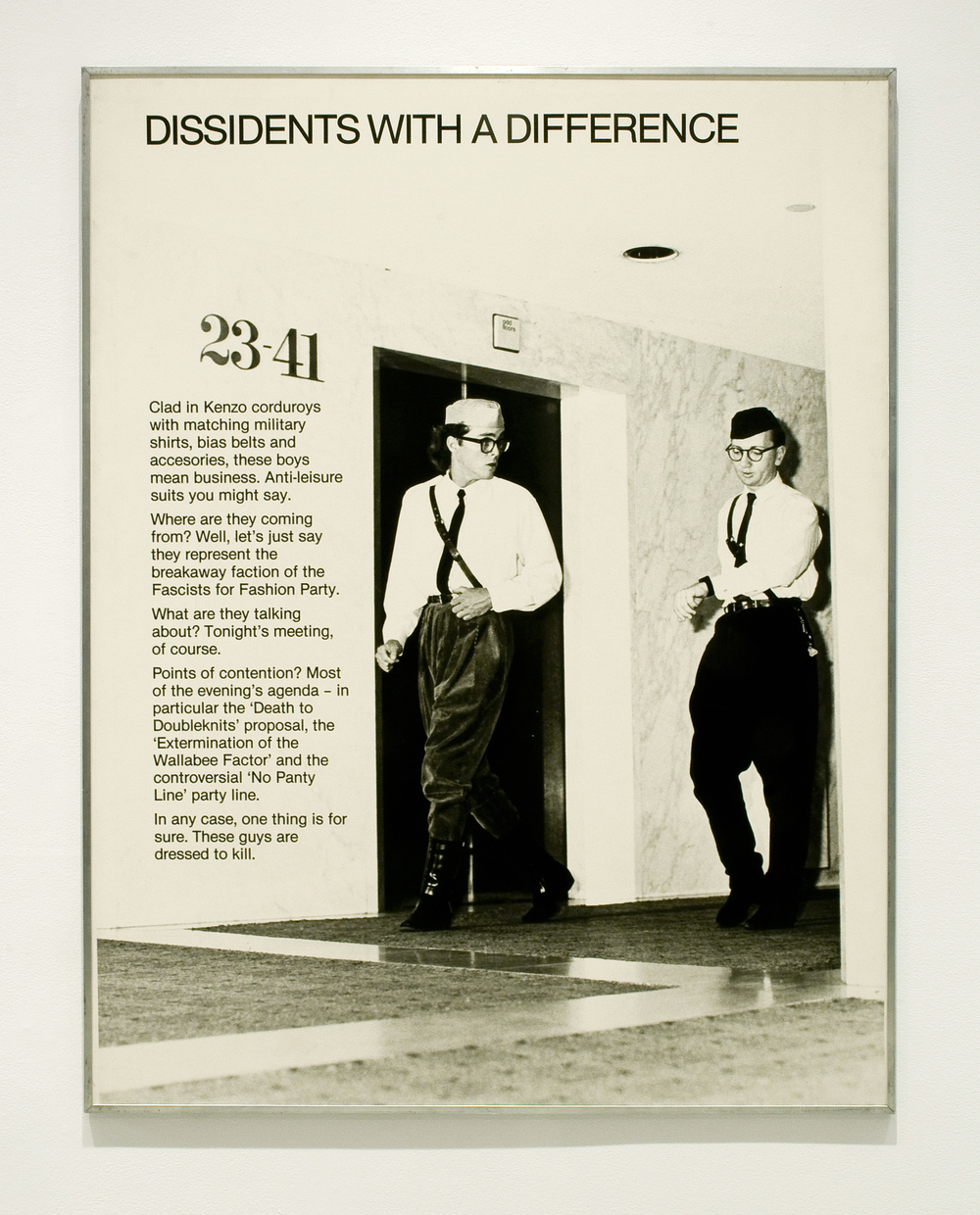 David Buchan,   Modern Fashions Suite:     Dissidents   with a Difference  , 1977.   Collection University of Lethbridge Art Gallery.