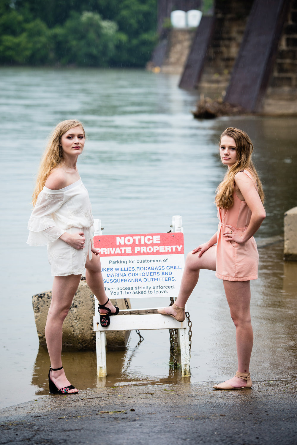 Even though the humidity is starting to show in their hair, the wet look only adds to the grunge of this photoshoot.