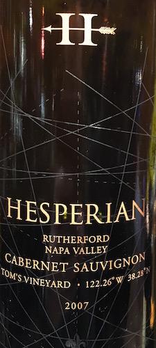 Hesperian Cabernet Sauvignon Tom's Vineyard 2007
