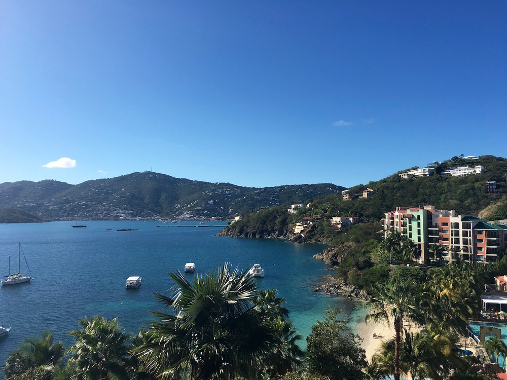 The view of downtown Charlotte Amalie from across the harbor at the Marriott is fantastic. The view of the ocean on the other side is great as well!