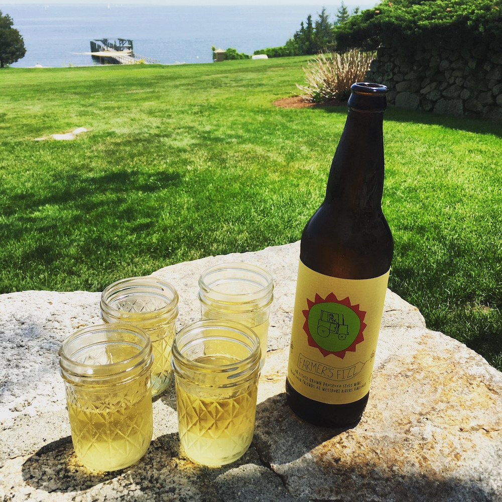 Disclaimer: This bottle of Farmers Fizz is not photographed at the winery itself. Westport Rivers is not on the water as this picture might seem to indicate.