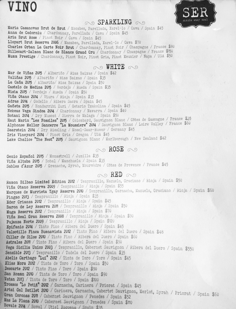 The wine list from one of our favorite restaurants in Arlington, VA. Their sangria is off the charts, and you can't go wrong with their wine list, either. Note the number of Spanish wines on the menu. Spain makes phenomenal wines, and is one of the world's largest producers, so , you will likely want to order one of the Spanish wines. This list shows us the wine by Name of Bottle or Winery Vintage / Grape Varietal / Subregion / Country Price, so for example the first bottle on the WHITE list is the Mar de Viñas from 2015, which made from the Albariño grape in Rias Baixas, Spain, and costs $42. The first bottle on the RED list can be read the same way, but note that it's a blend of juice from the Tempranillo, Mazuelo, and Graciano grapes.