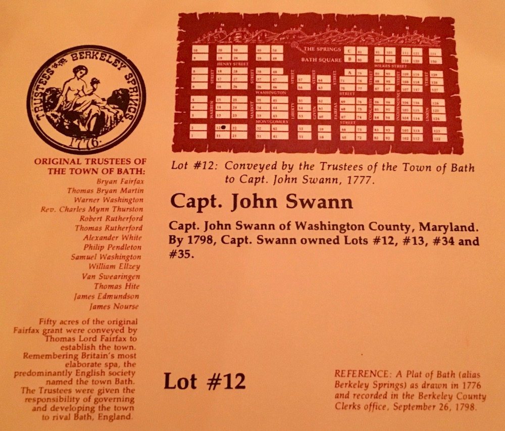 "Snapped from the back of the menu, you'll find some of these plaques around town recognizing the original town plots and those who owned them. Note the association with Bath, England. Today the legally incorporated town is called ""Bath"", though the postal code and prevailing culture calls broader area ""Berkeley Springs""."