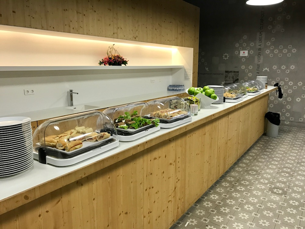 Sandwiches are lined up on the buffet in the ANA Lounge.