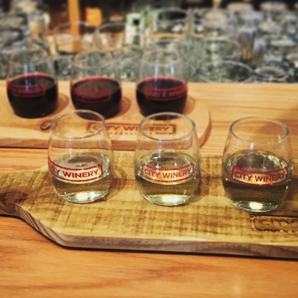 Wine flights and tastings (how appropriate) are a great way to learn more about your own tastes. This one was on offer at the Nashville City Winery.