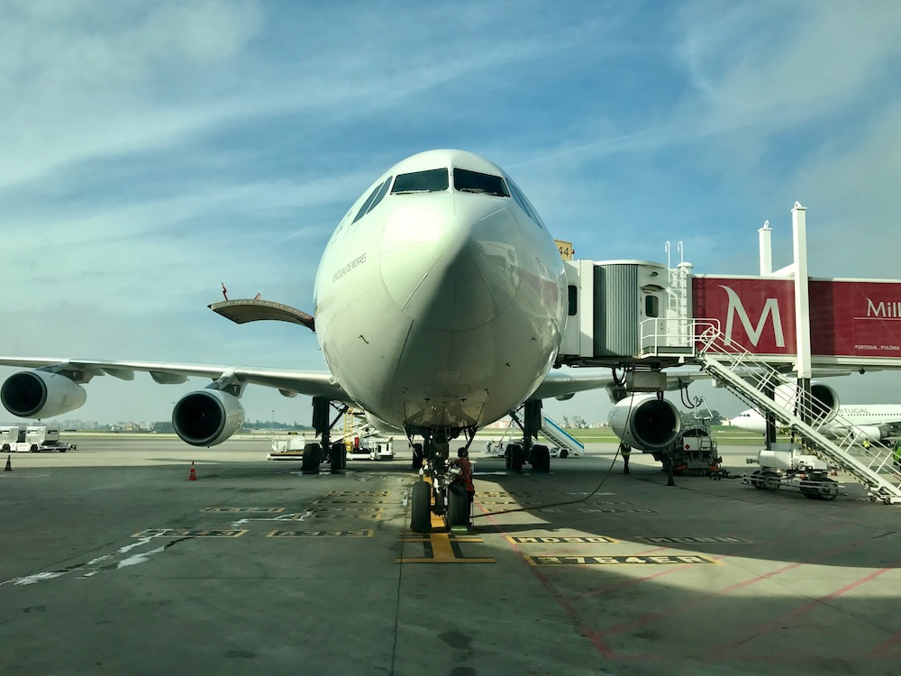 The international terminal was built for big planes, this Airbus A340 for example, not for smaller planes like ours.