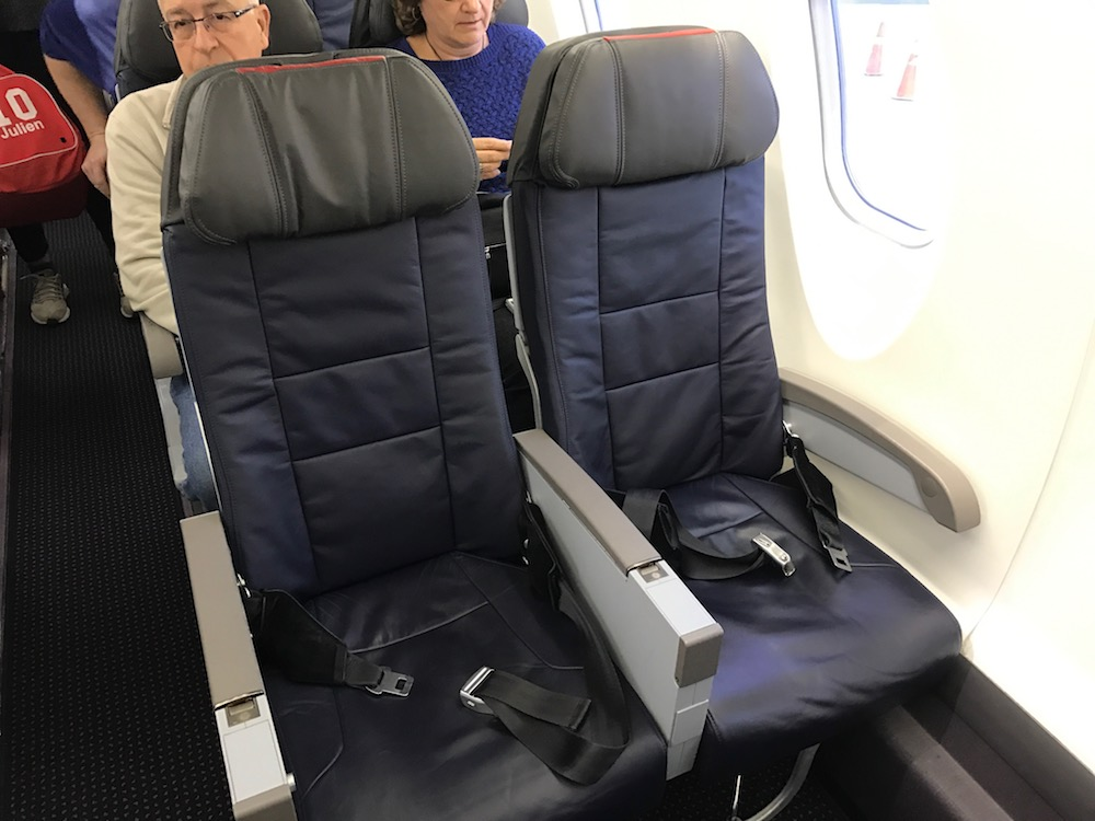Main cabin seats on the CRJ 900, while smaller than a larger plane, are new and fresh right now.