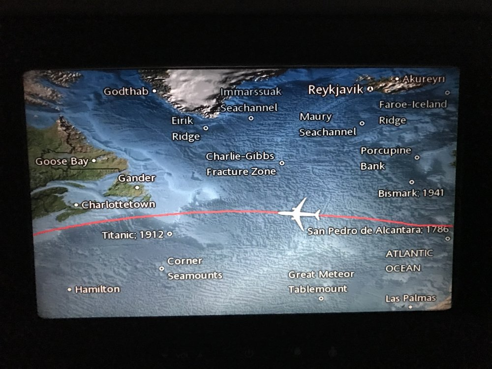 Note that the seat back monitors tell me the location and year of shipwrecks we're flying over. Geeks like me can rejoice!