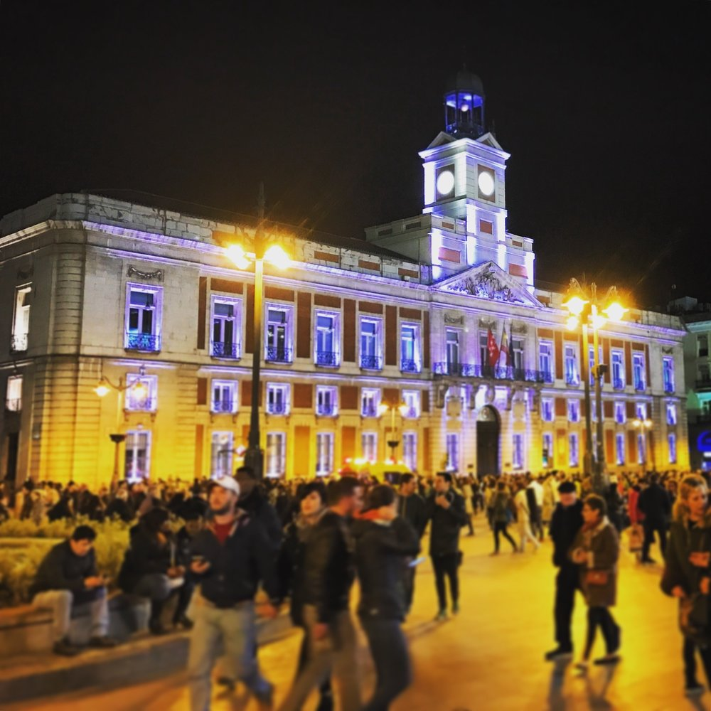 Madrid's Puerta del Sol one evening on a recent visit. We'll end up there next week.