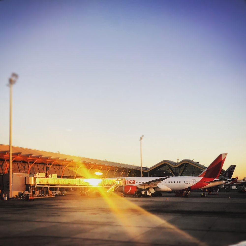 Sunrise at Madrid-Barajas Airport