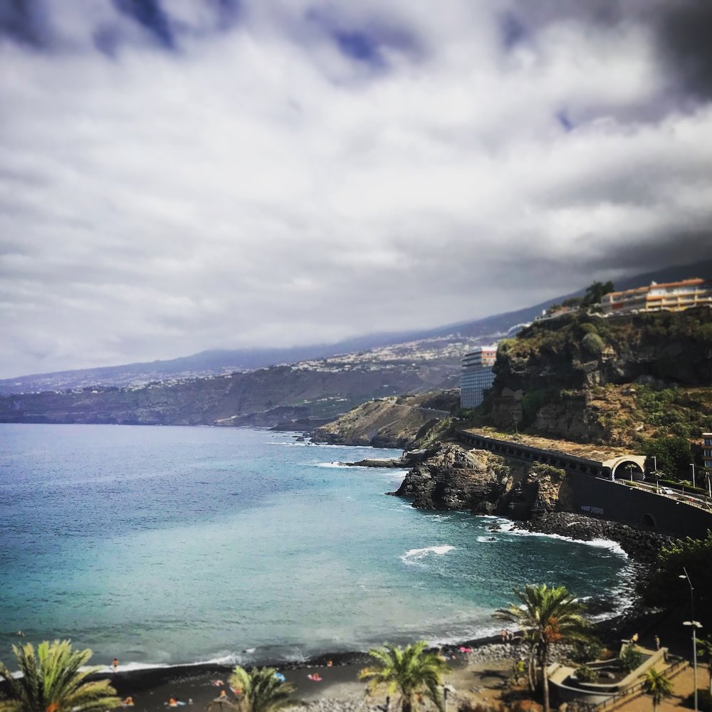Blue sea and black beaches on Tenerife