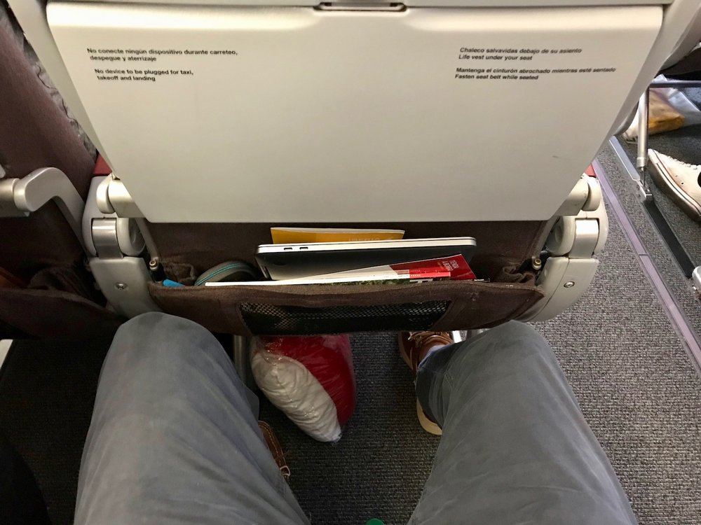 Legroom felt good, particularly when I found a place in the overhead for my backpack.