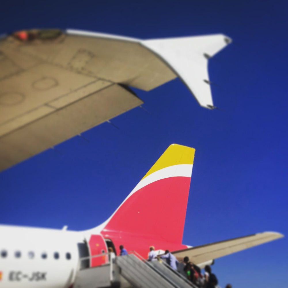 Boarding from the tarmac under beautiful blue skies down in the Canary Islands.