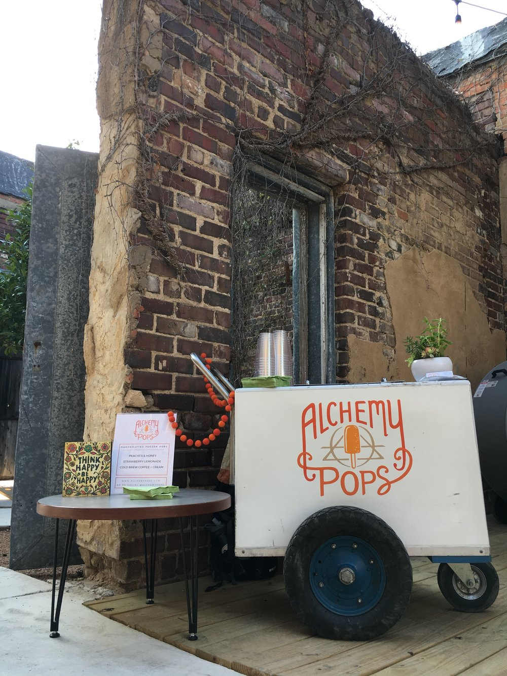 The first Alchemy Pops pop cart set up at a wedding at The 4 Eleven, where the first Alchemy Pops Shop is located!