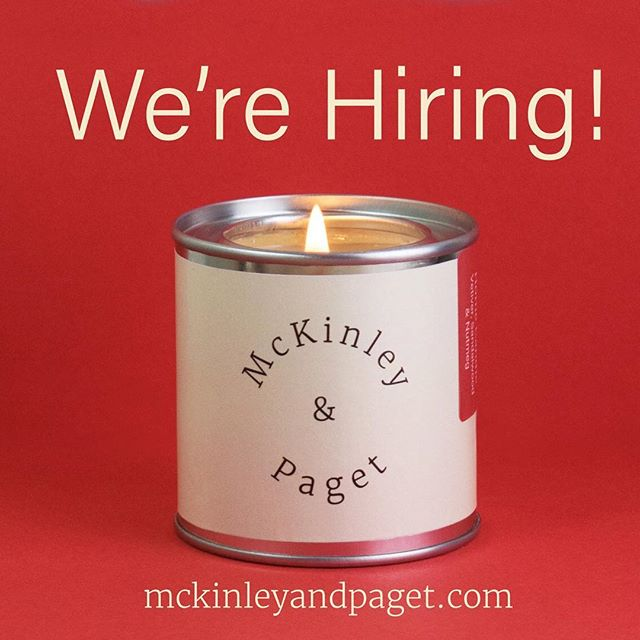 We're hiring! If you love candles, sustainability and are interested in joining our team, please visit the careers page on our website! . . . #mckinleyandpaget  #plantbased  #plantpower  #hygge  #madeinlondon  #coconut  #essentialoils  #handmade  #bougie  #ろうそく  #양초