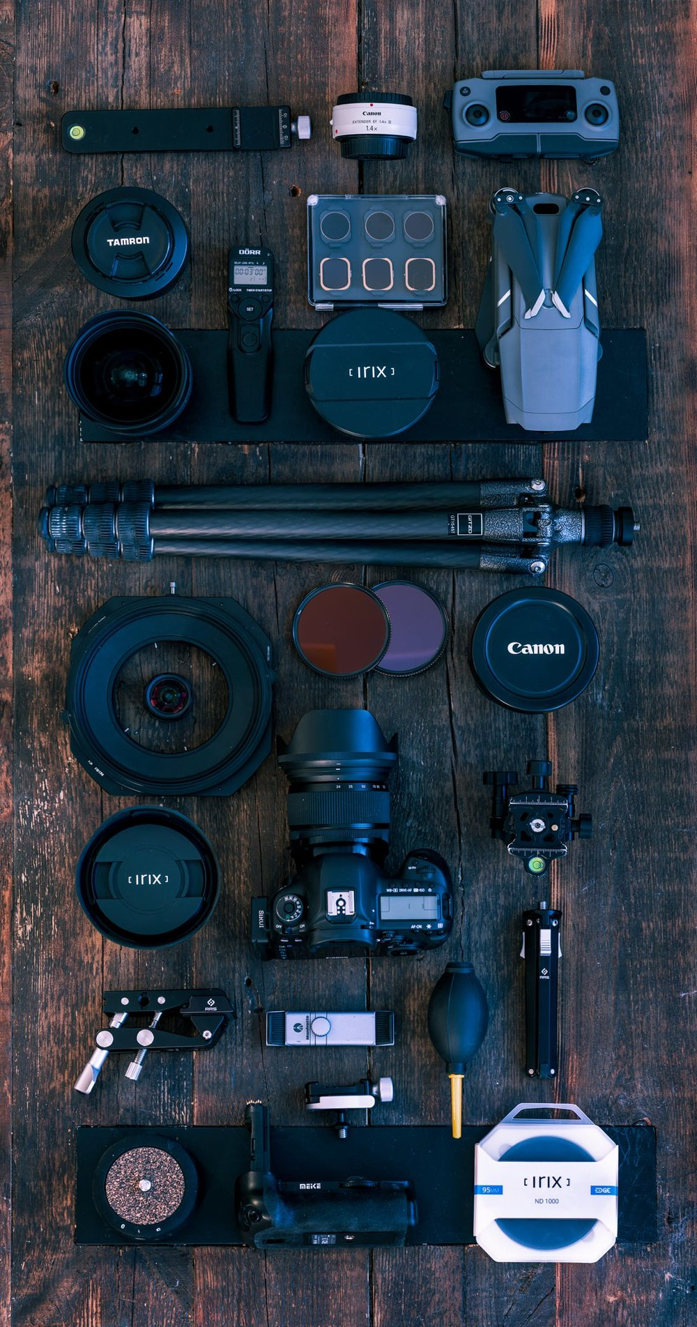 Equipments - • Canon 5D Mark IV• Canon TS-E 17mm f4 Tilt Shift• DJI Mavic Pro II• Canon EOS M6• Irix 11m f4• Sigma 14-24mm f2.8• Irix 15mm f5• Sigma 24-105mm f4.0• Sigma 50mm f2.8 macro• Tamron 70-300mm f4.0• Syrp Genie Mini• Canon 1.4 Extender• Gitzo and Induro tripods with AcraTech GPSS ballhead