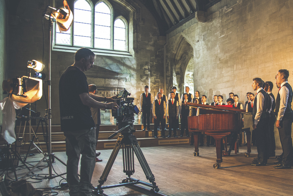 Only Boys aloud filming at Atlantic College for Orchard, S4C