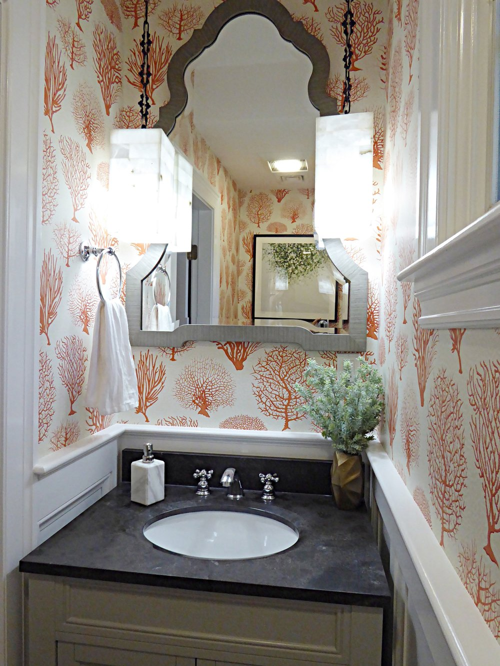 Powder Room design by Lisa Jensen Interior Design.