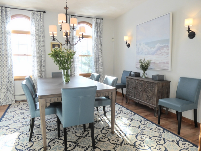 Dining Room Interior Design For A Home North of Boston MA By Lisa Jensen Interior Design.