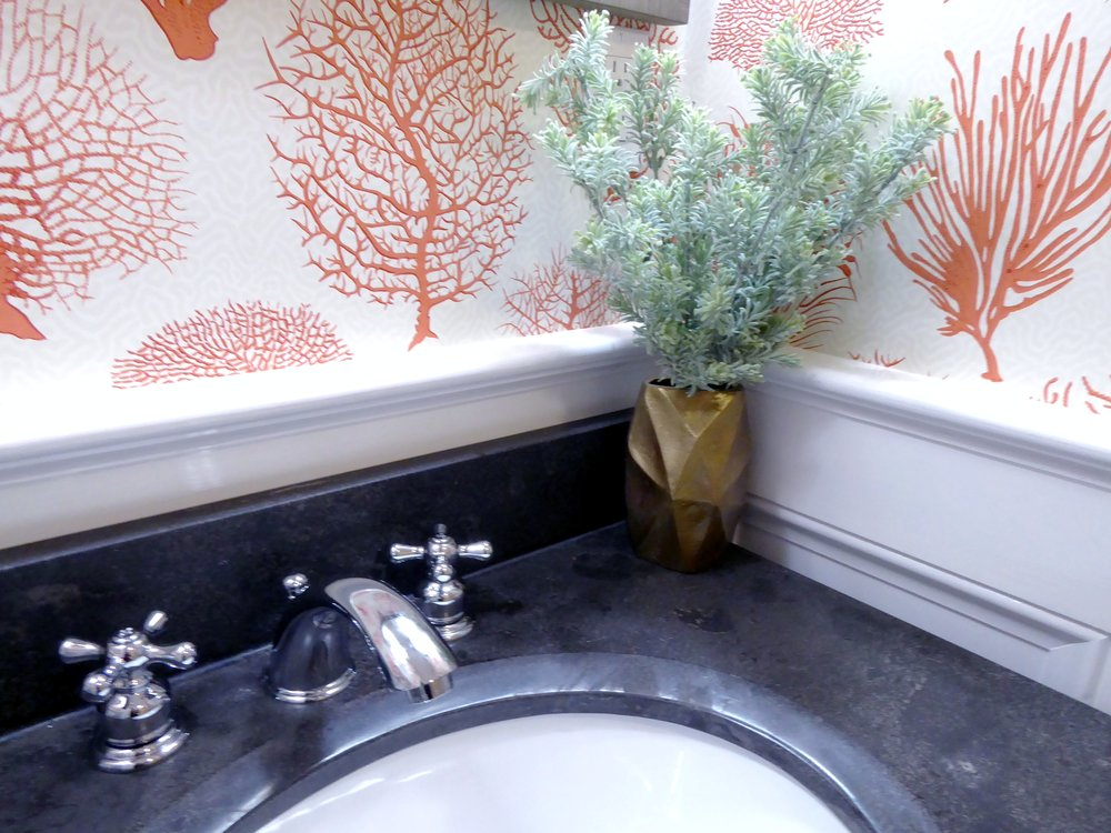 Closeup of Interior Design Details in a Powder Room Renovation