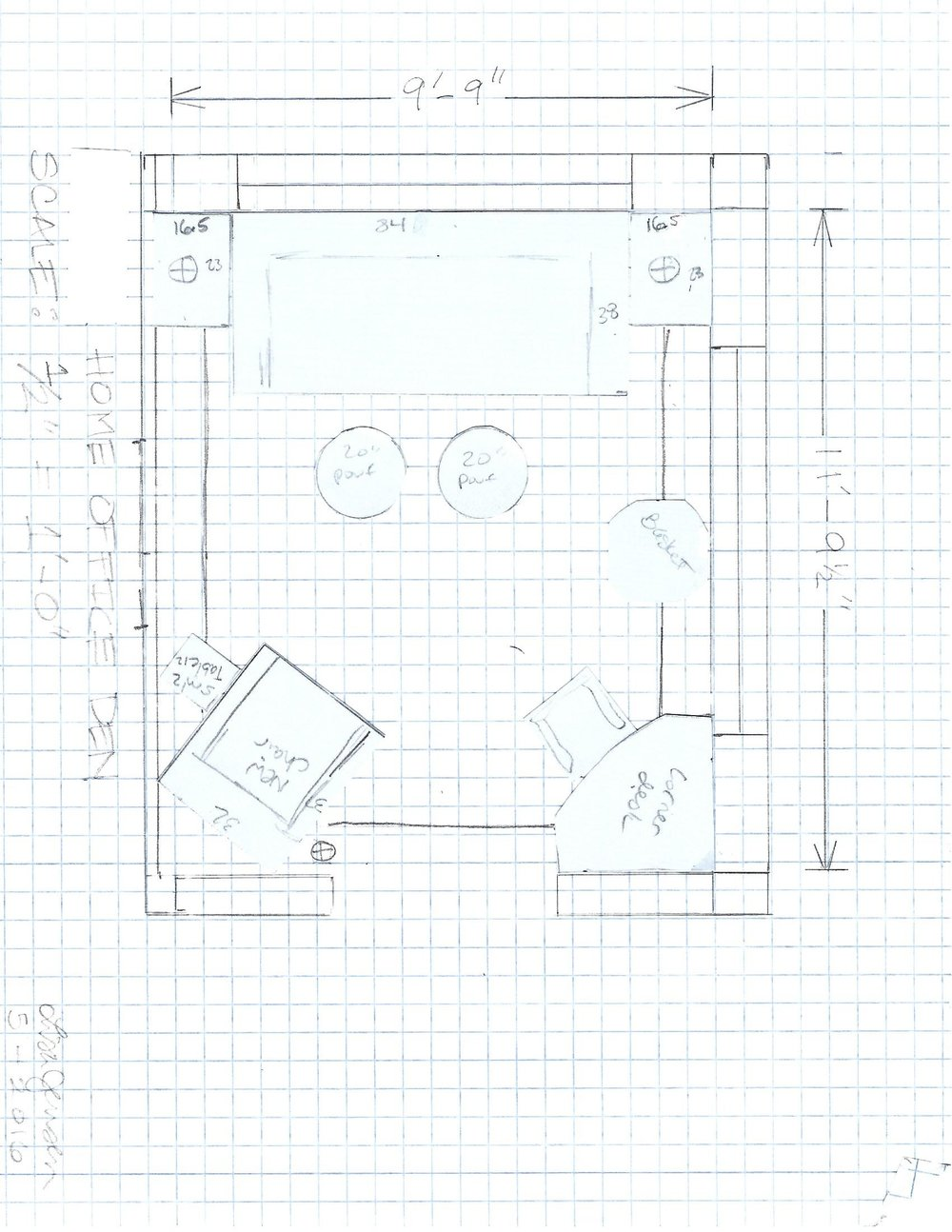 A scaled floor plan was drafted to ensure proper sized furniture was selected and then arranged in order to leave proper pathways and provide all of the different functions the clients were looking for with their new Den design.