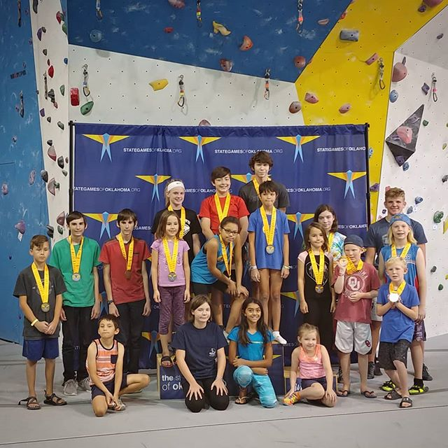Thank you to all the kids who competed this morning in the 20th anniversary of the Norman Bouldering Competition! You all are awesome! Thank you  @stategamesofok for partnering with us. Now on to the adult section of the comp. #climbing #youthclimbing #climbup #climbupgym