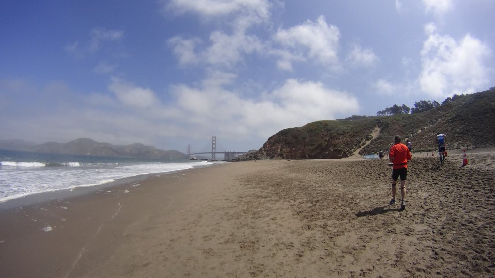 Awesome view of the Golden Gate after the deep sands of Baker Beach