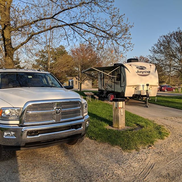 Come Friday after school here's where I'll be. Had to set up a little early this week because they're working on the house.  #tothewoods #camping #trailerlife #michigancountyparks  #remoteworking