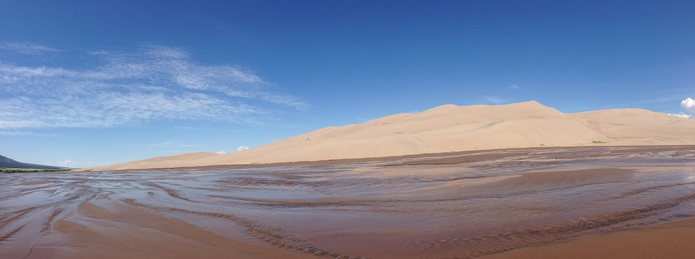 Panoramic view of the sand dunes.