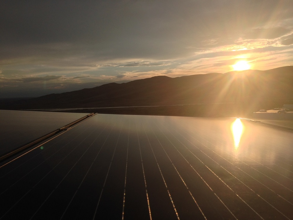 Sunset view from the solar roof.