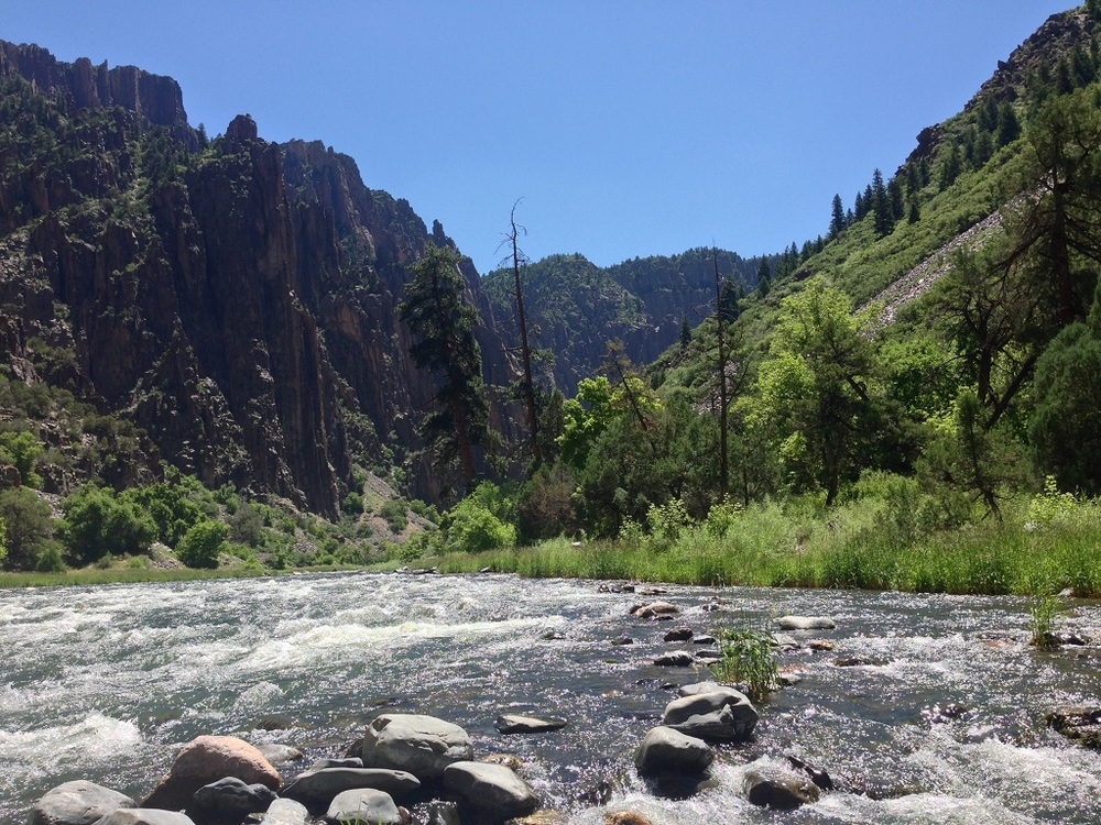 View of the Gunnison River as seen from the bottom of Black Canyon.