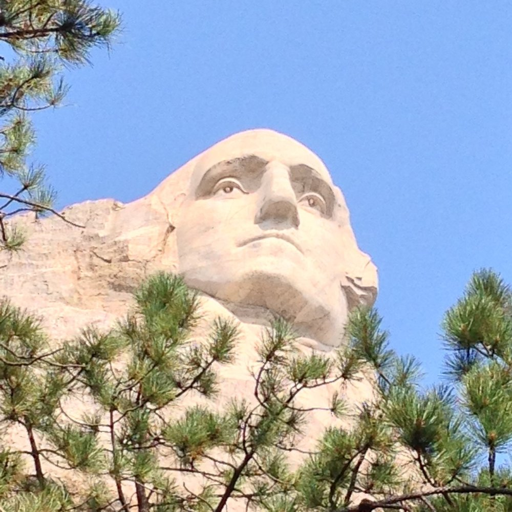 Close-up of Washington. Note the depth of the eyes and the technique used to carve the pupils.