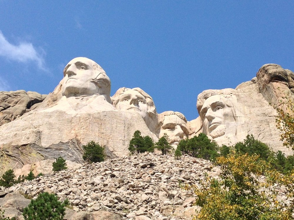 Close-up of the presidents. There is a paved hiking trail which takes you to cool different views of the monument.
