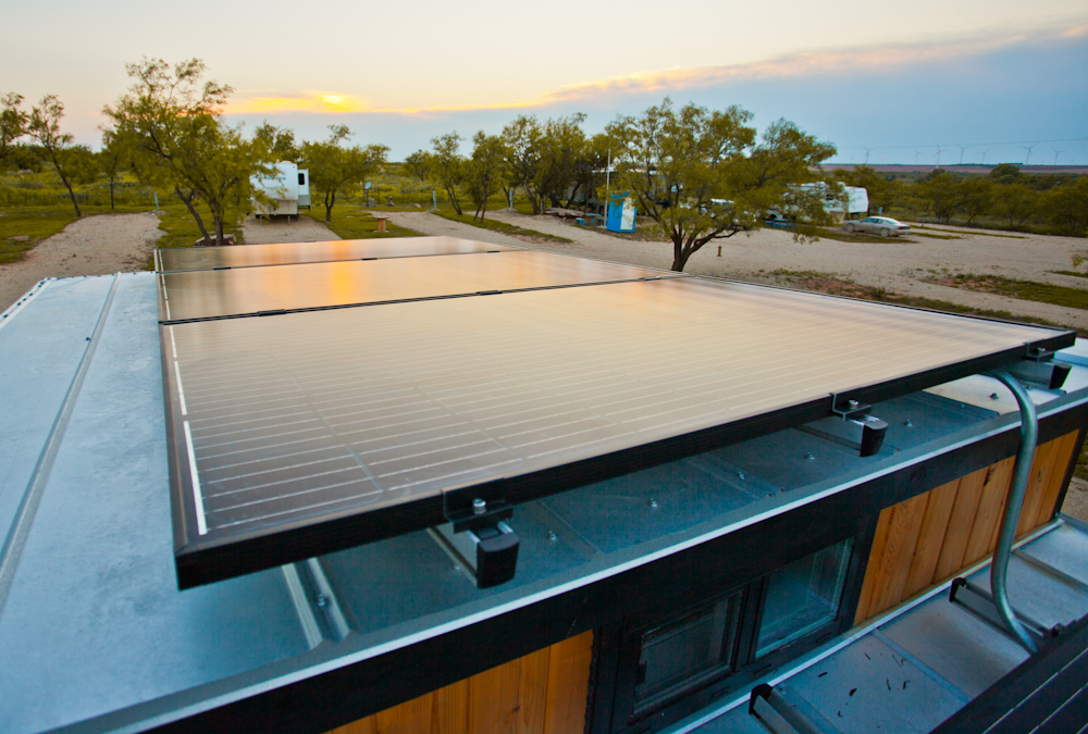 View of rooftop solar panels on the Tiny Solar House.