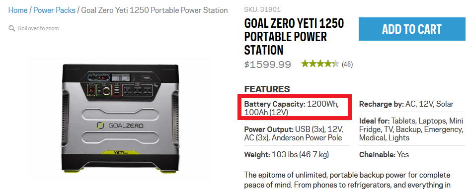 A popular battery option sold online and at REI, but not a very good deal, and not very much storage capacity.