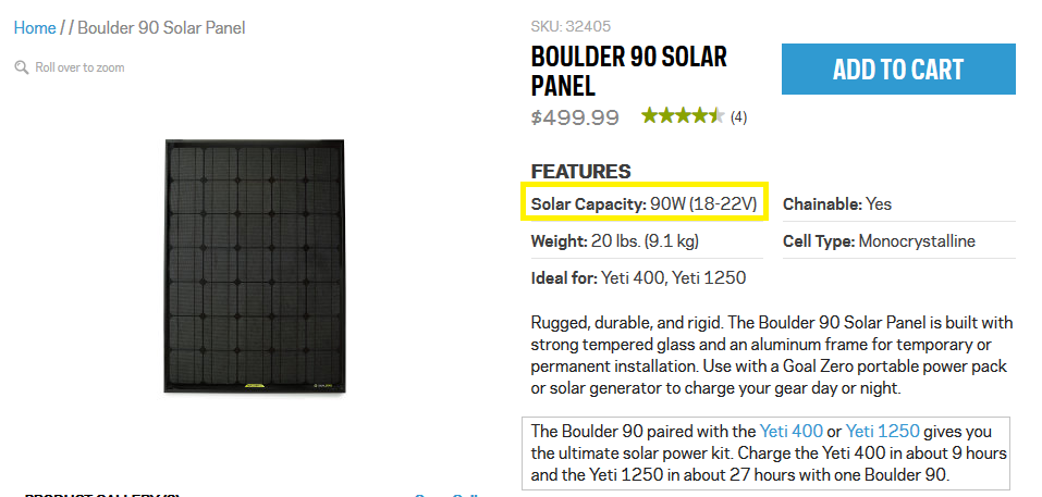 This is a very small solar panel at a very expensive price, a TERRIBLE deal! You should be able to purchase a solar panel for the equivalent of $1 per watt, or $300 for a 300W panel.